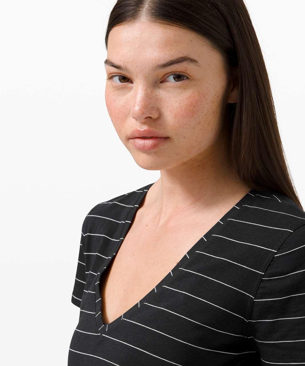 Lululemon Love Tee V - Short Serve Stripe Black White