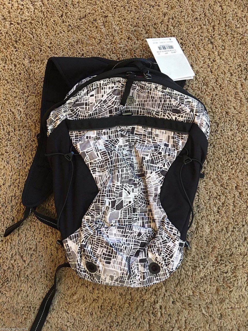 ce33840c7b Lululemon Run All Day Backpack - 2016 Seawheeze - Grid Map Texture White  Black - lulu fanatics