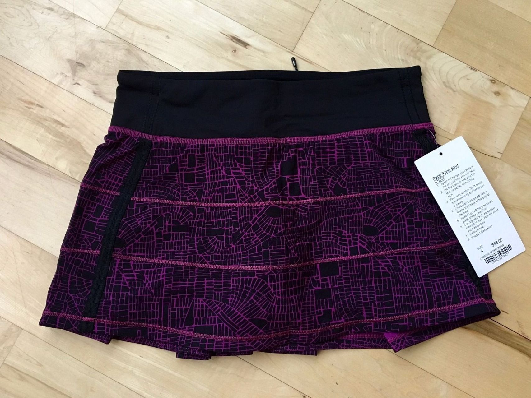 Lululemon Pace Rival Skirt II (Regular) - 2016 Seawheeze - Grid Map Regal Plum Black / Coded Manifesto Regal Plum White