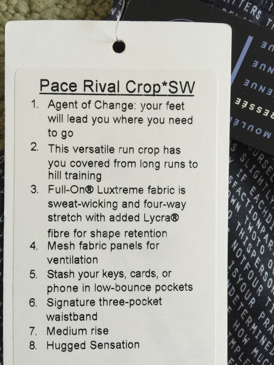 Lululemon Pace Rival Crop - 2016 Seawheeze - Coded Manifesto Black White / Black