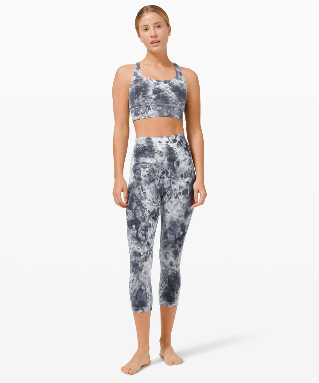 "Lululemon Wunder Under Marble Dye High Rise Crop 21"" - Marble Dye Classic Navy"