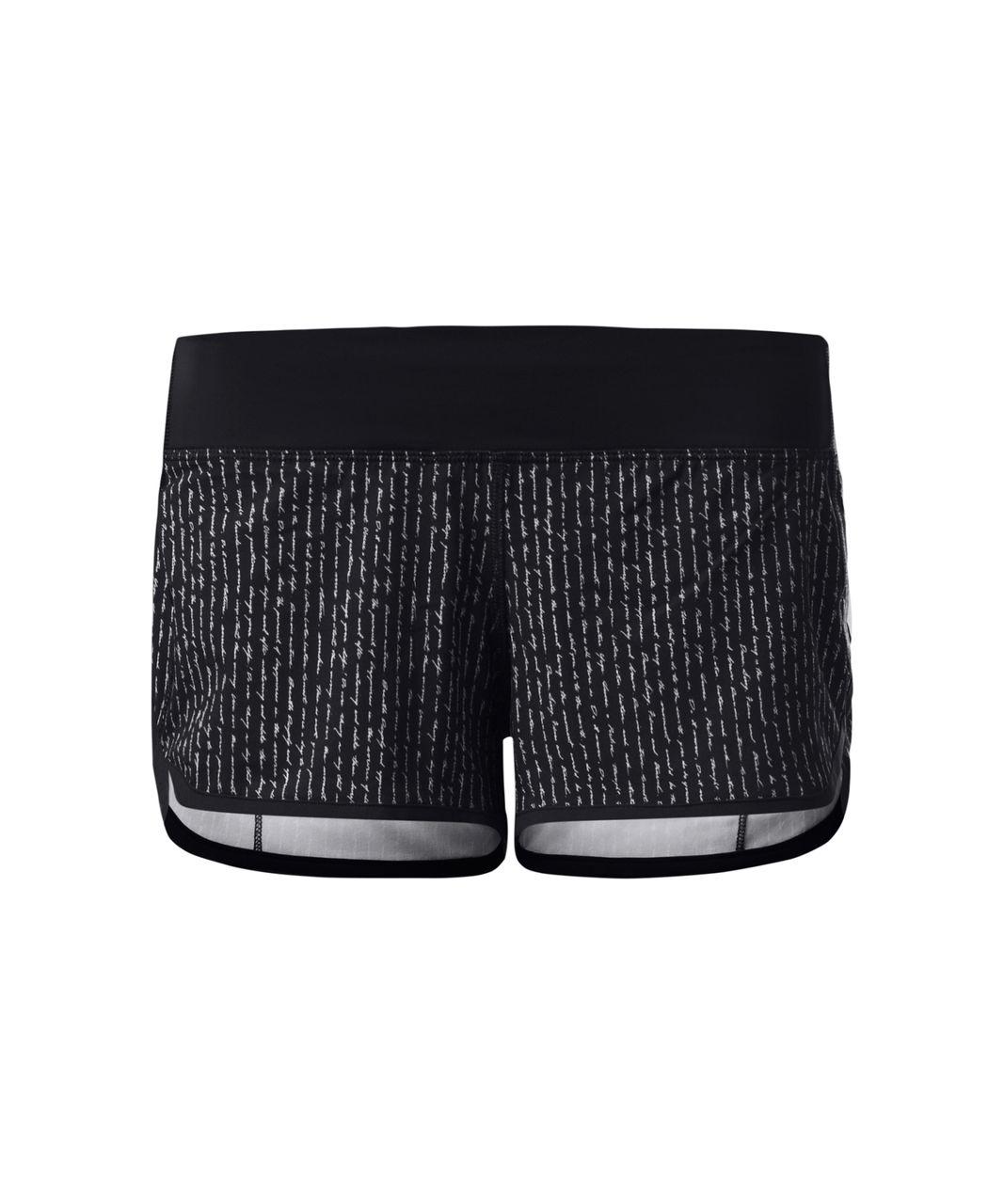 Lululemon Speed Short - Pinstripe Black White / Black