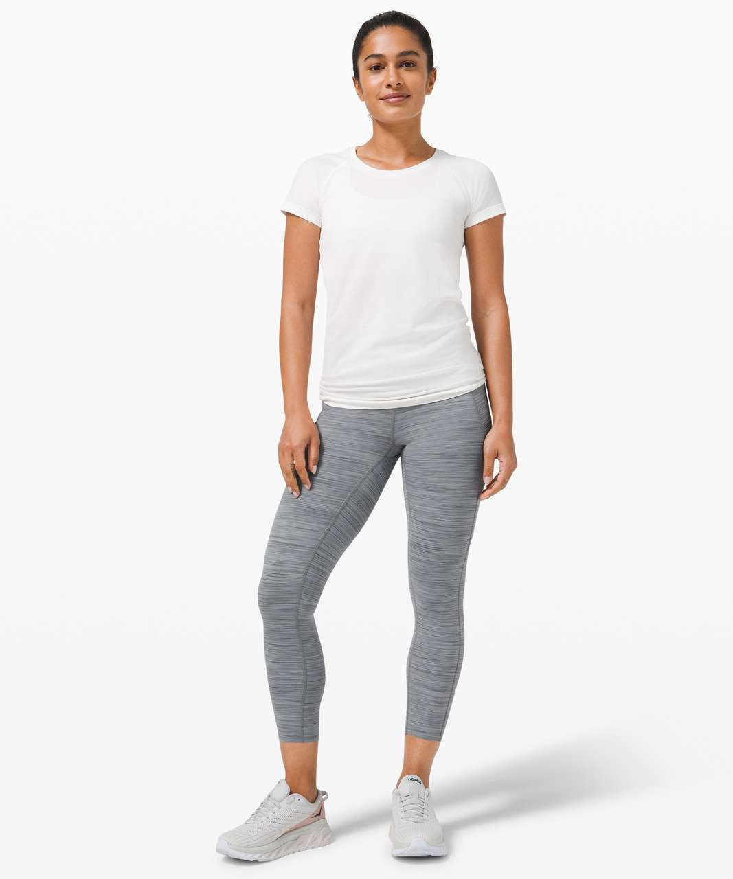 """Lululemon Fast and Free High-Rise Crop 23"""" *Non-Reflective - Nulux 3 Colour Space Dye Coal / Asphalt Grey / Rhino Grey"""