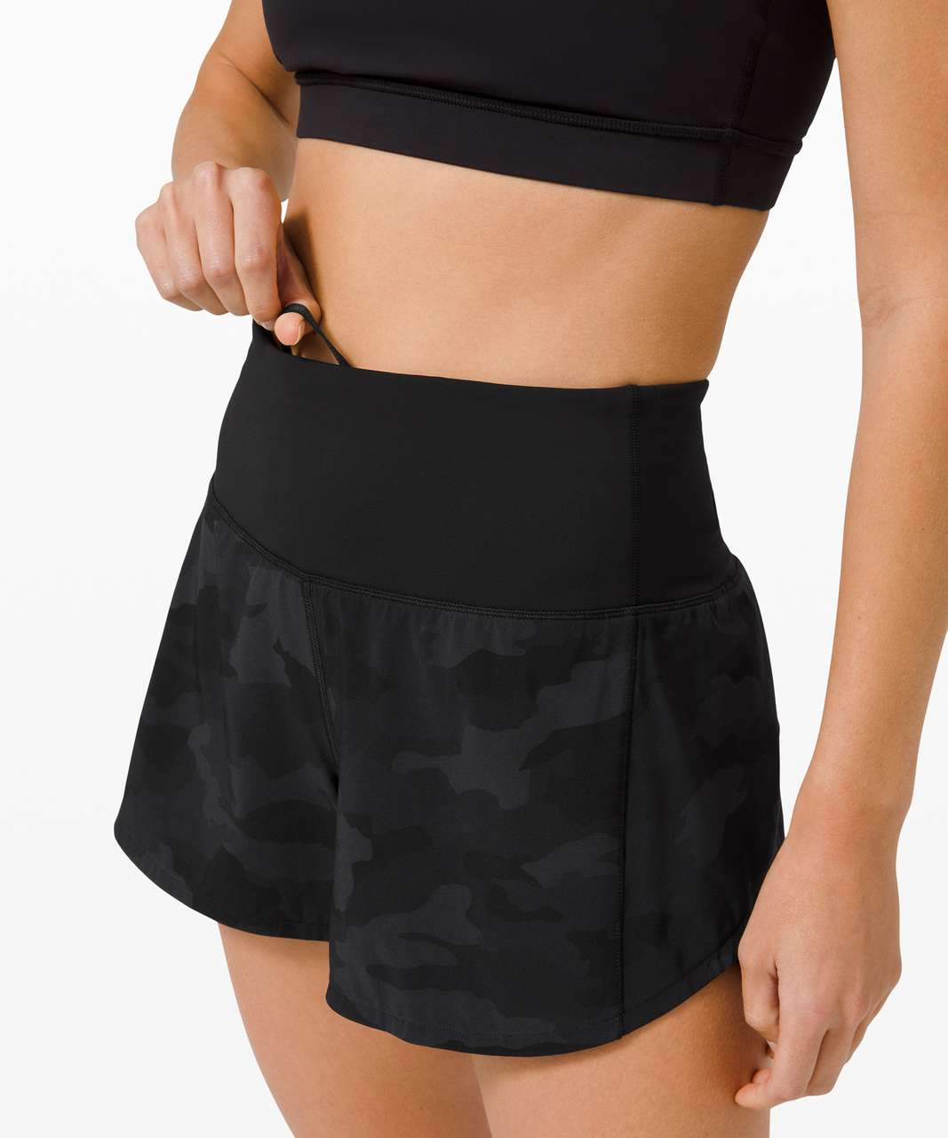 "Lululemon Speed Up High-Rise Short 4"" *Long - Heritage 365 Camo Deep Coal Multi / Black"