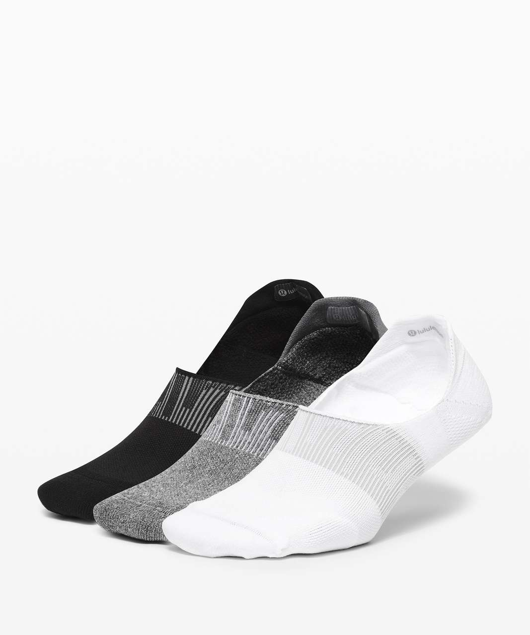 Lululemon Power Stride No-Show Sock with Active Grip *3 Pack - White / Heather Grey / Black