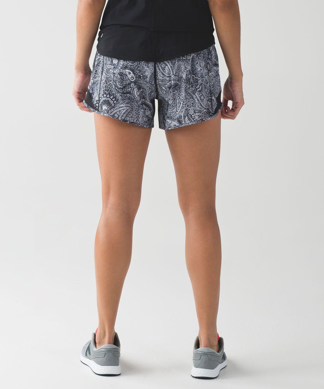 Lululemon Hotty Hot Short (Long) - Mini Antique Paisley White Black / Black
