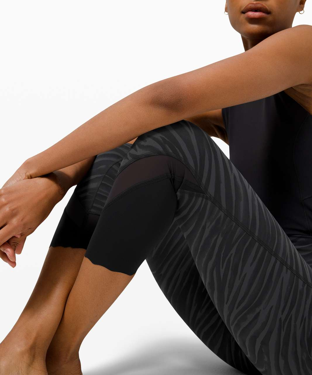 """Lululemon Wunder Under High-Rise Crop 23"""" *Updated Scallop Full-On Luxtreme - Le Tigre Camo Deep Coal Multi"""