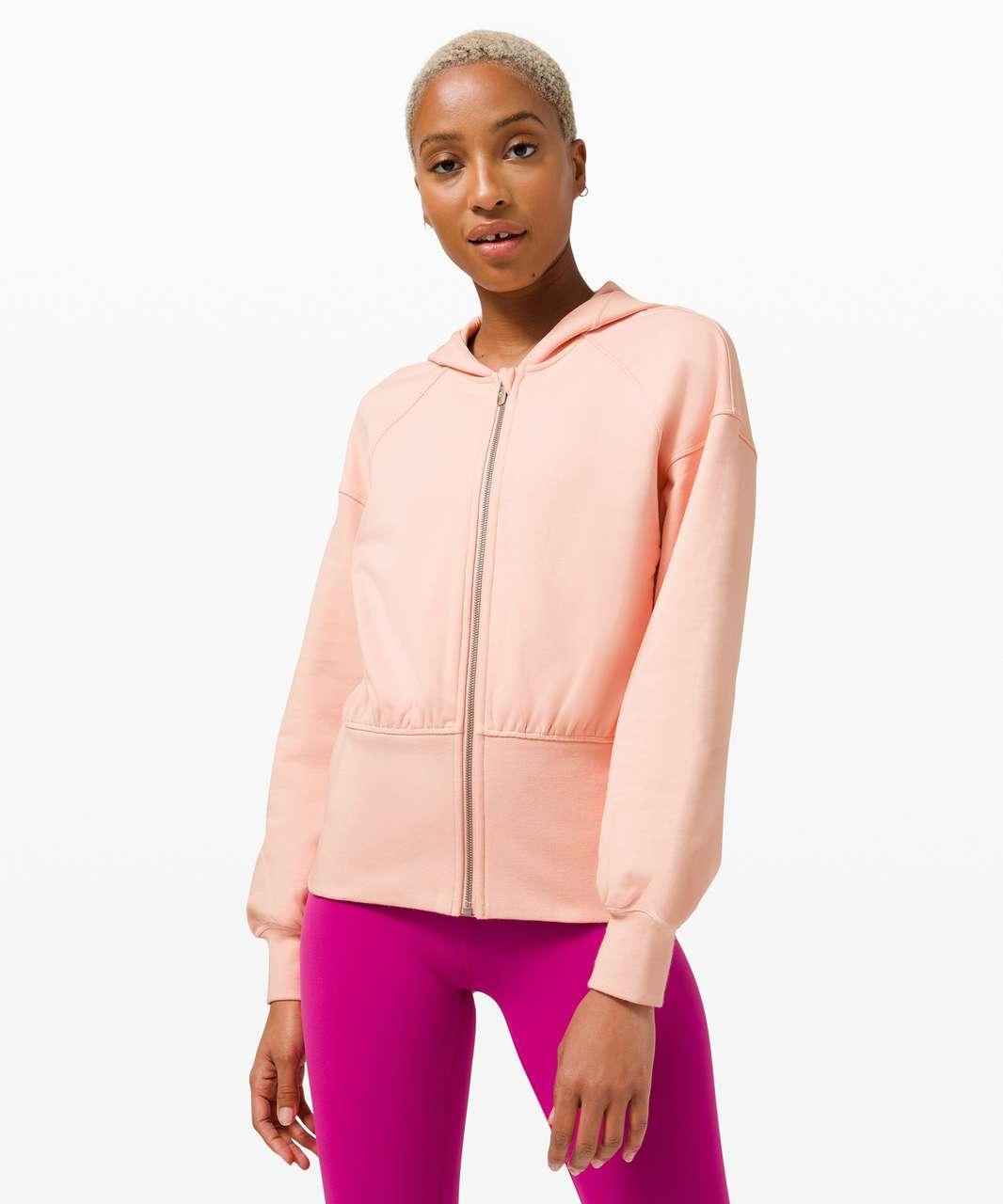 Lululemon Hugged-Waist Cotton Zip Hoodie - Pink Mist