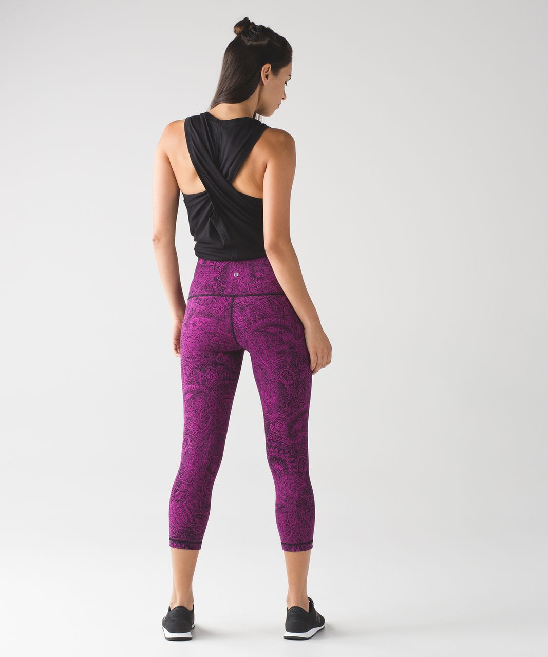 Lululemon Wunder Under Crop (Hi-Rise) - Antique Paisley Deep Fuschia Black