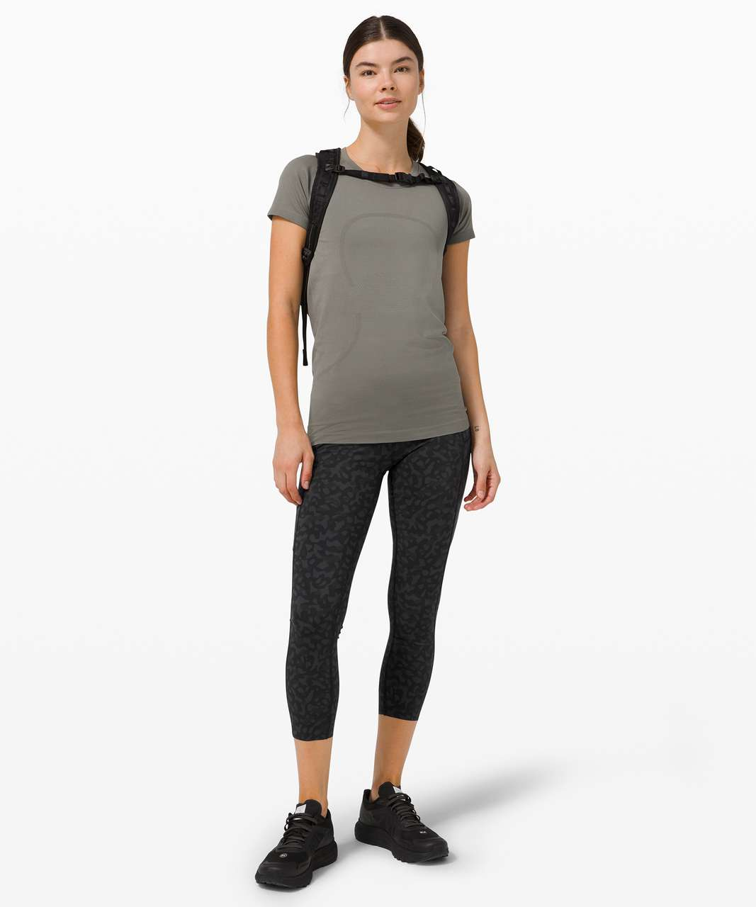 """Lululemon Fast and Free High-Rise Crop 23"""" *Non-Reflective - Formation Camo Deep Coal Multi"""