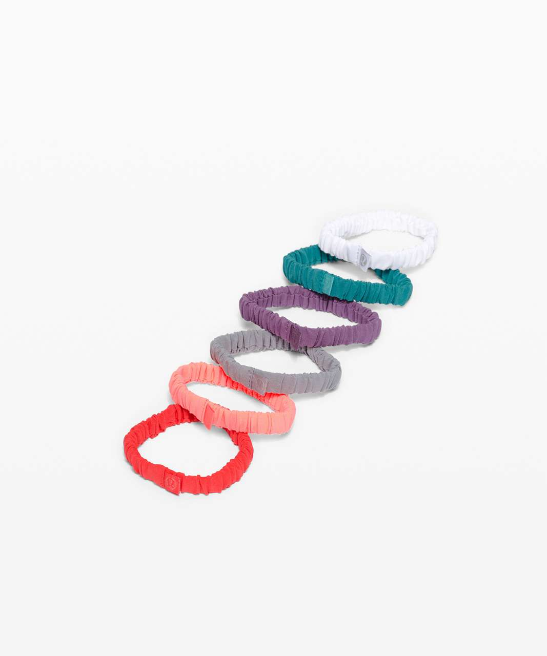 Lululemon Skinny Scrunchie *6 Pack - Pink Punch / Sunset / Rhino Grey / Grape Mauve / Hawaiian Blue / White