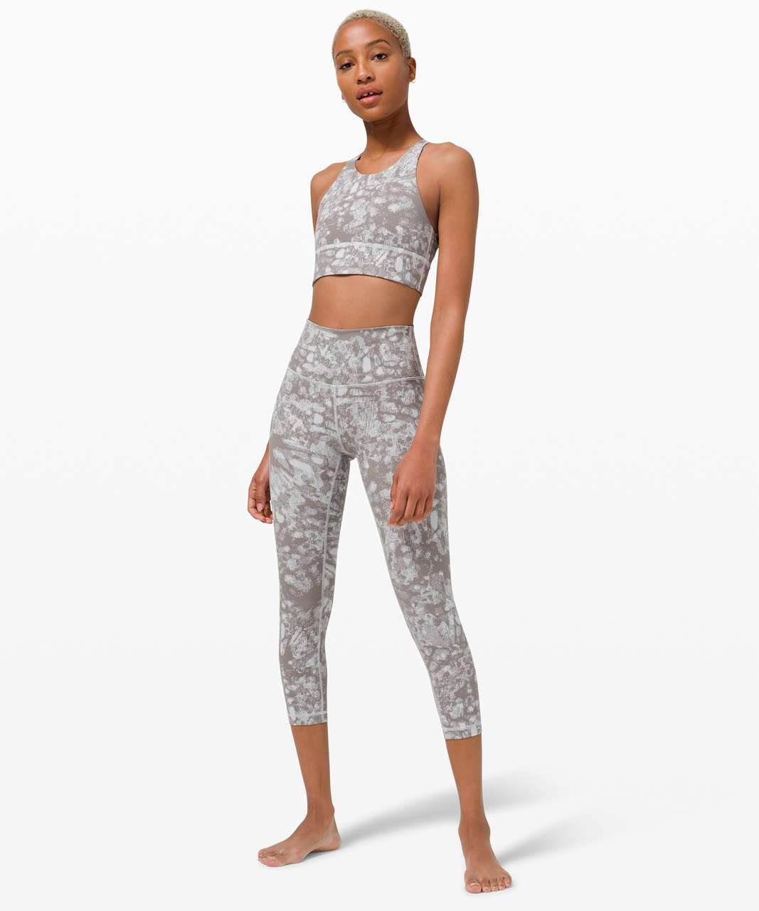 Lululemon Free to Be High-Neck Long-Line Bra - Wild *Light Support, A/B Cups - Synthesize Jacquard Starlight Grey Fog