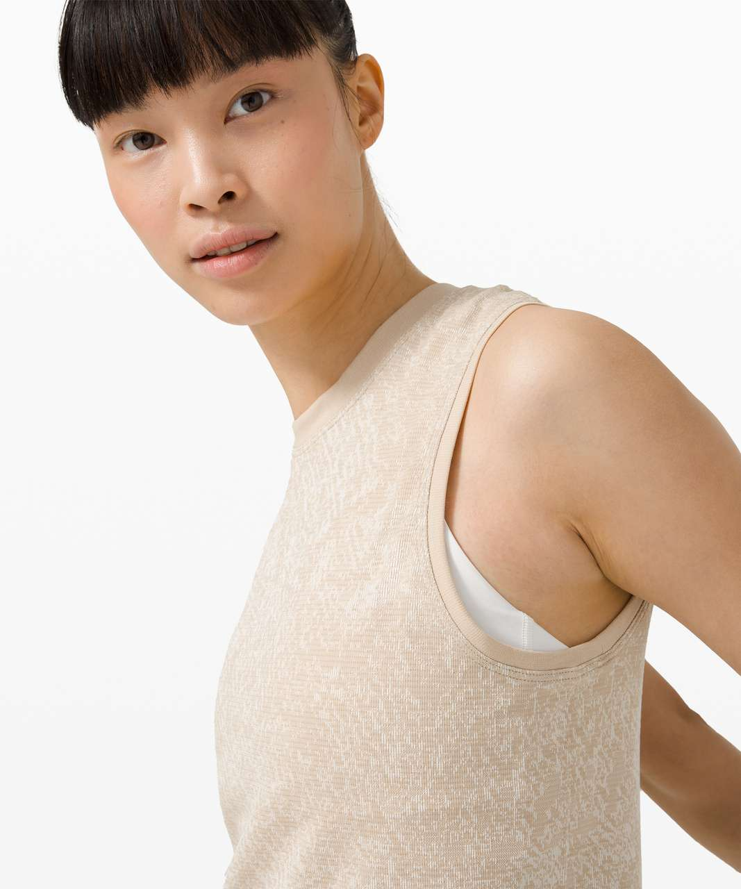 Lululemon Swiftly Breathe Muscle Tank Top - Floral Fauna Cafe Au Lait / White Opal