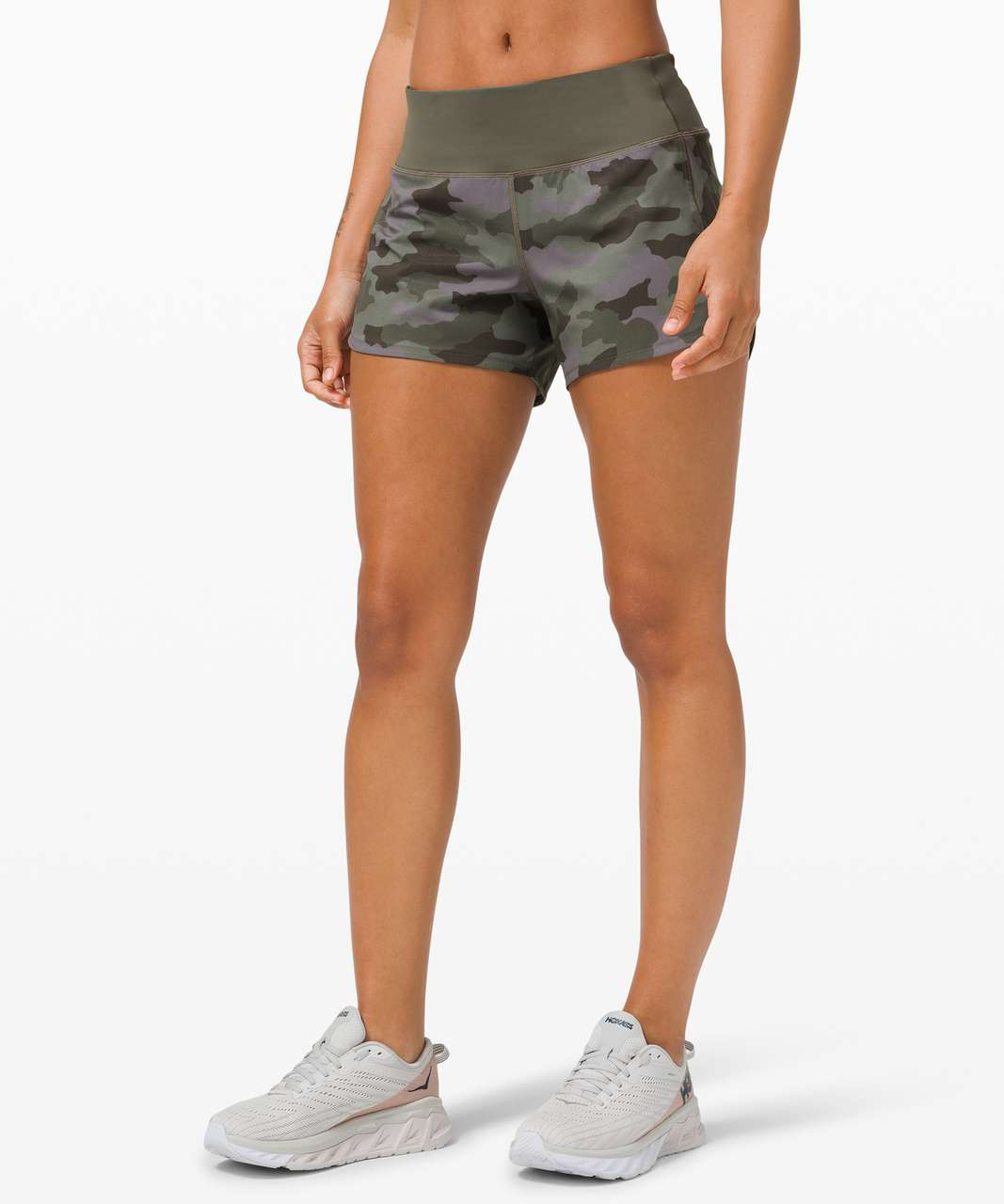 "Lululemon Speed Up Short Long *4"" Updated Fit - Heritage 365 Camo Dusky Lavender Multi / Army Green"