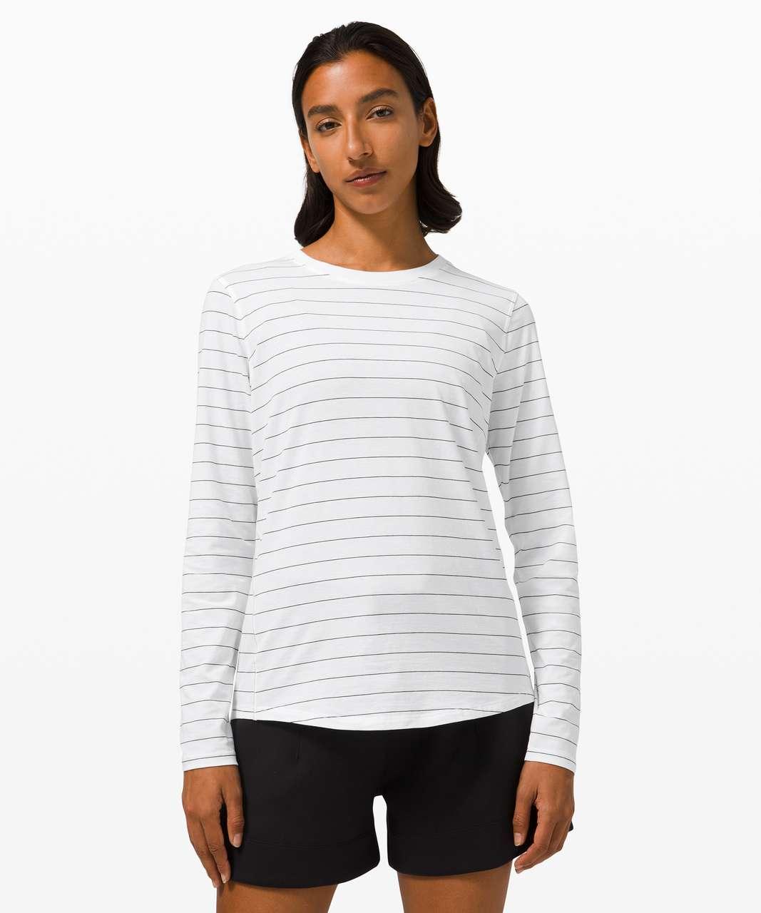 Lululemon Ever Ready Long Sleeve - Short Serve Stripe White Black