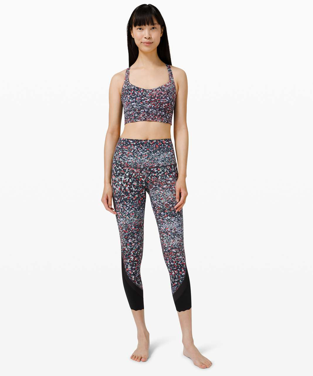 """Lululemon Wunder Under High-Rise Crop 23"""" *Updated Scallop Full-On Luxtreme - Water Blossom Multi"""