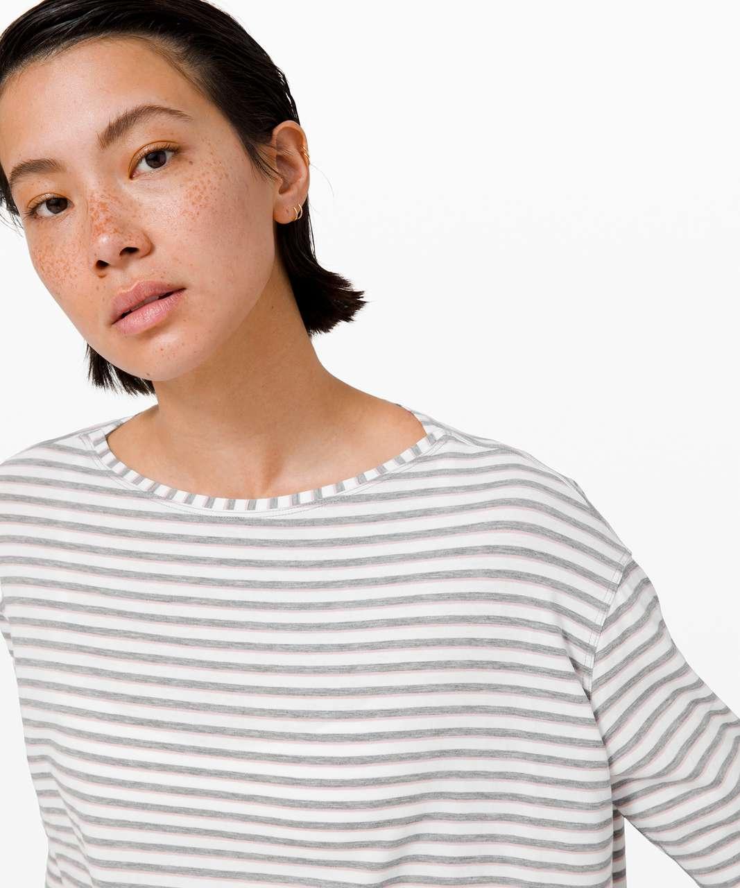 Lululemon Back In Action Long Sleeve - Step Stripe White Heathered Core Mid Grey