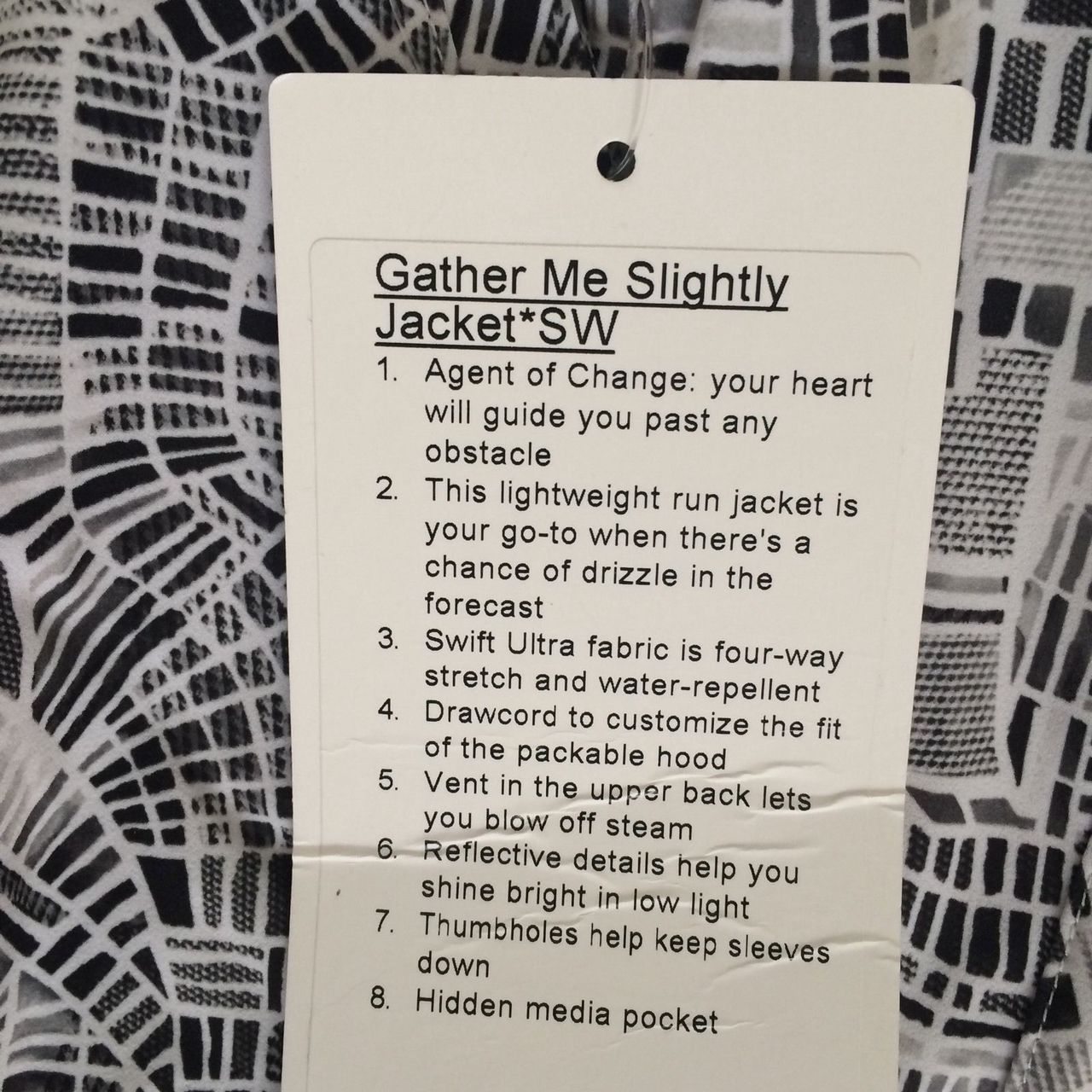 Lululemon Gather Me Slightly Jacket - 2016 Seawheeze - Grid Map Texture White Black / Grid Map White Black