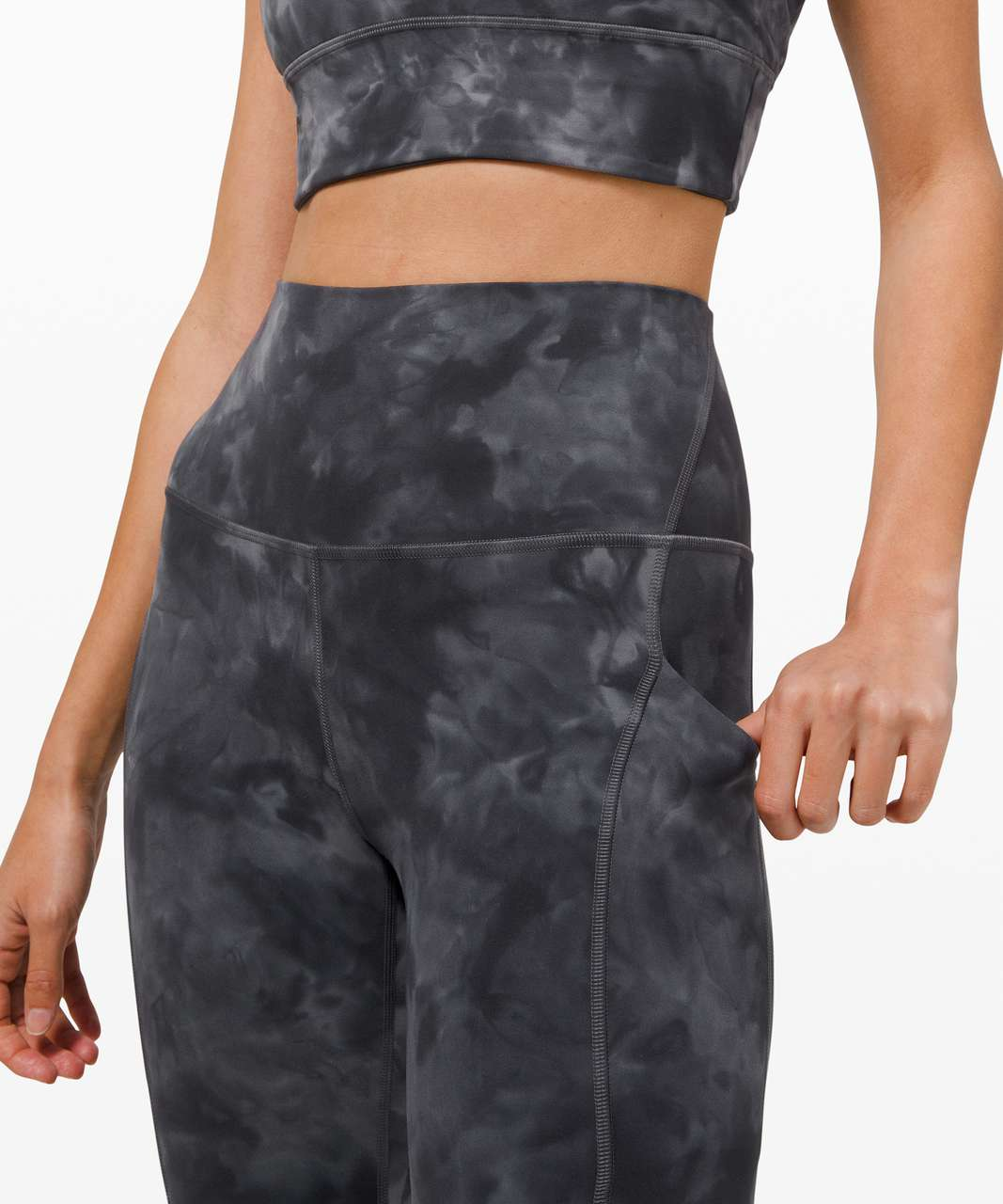 "Lululemon Align High Rise Crop with Pockets 23"" *Diamond Dye - Diamond Dye Pitch Grey Graphite Grey"