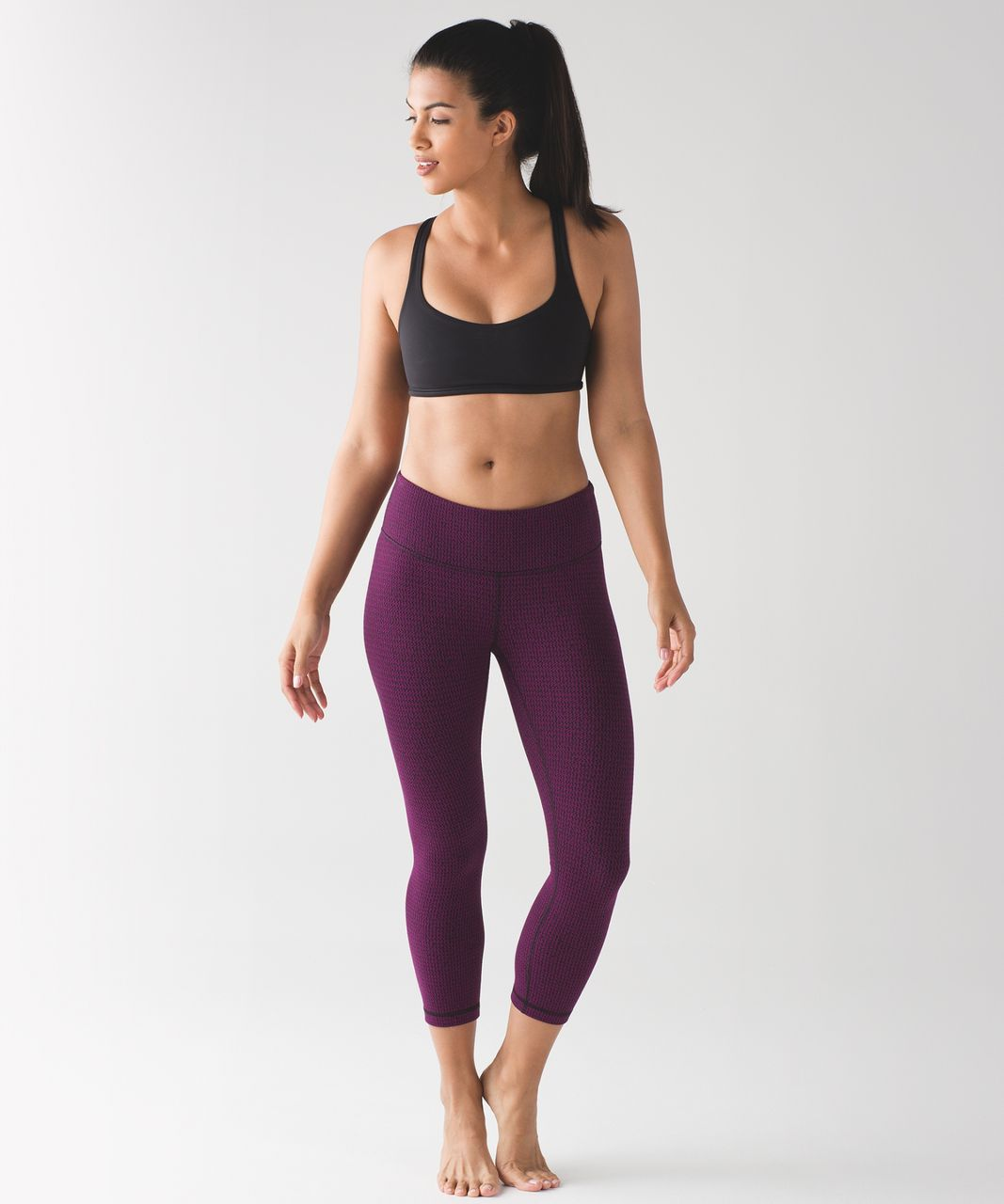 Lululemon Wunder Under Crop III - Teeny Tooth Deep Fuchsia Black