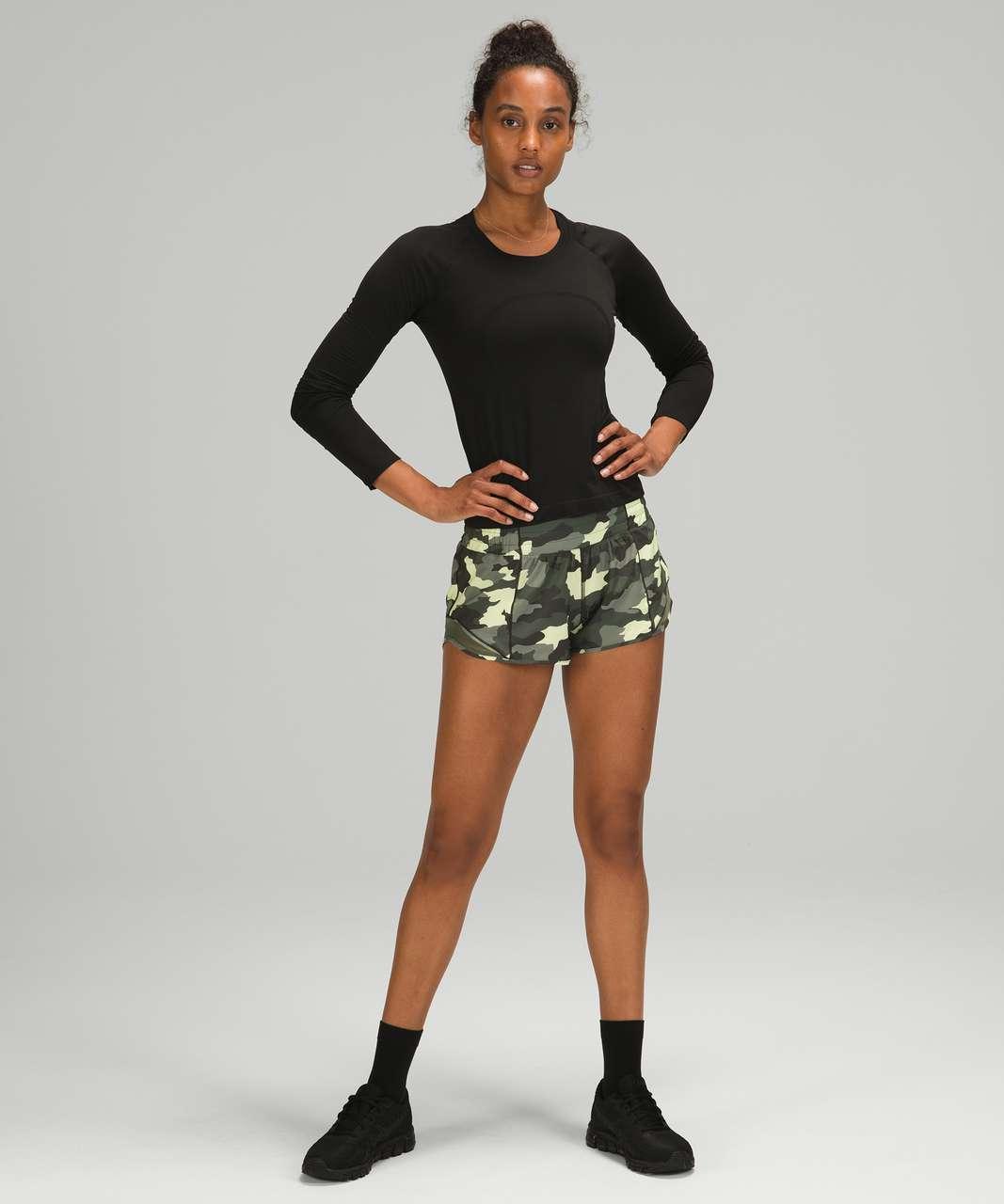 "Lululemon Hotty Hot Low-Rise Short 2.5"" - Heritage 365 Camo Crispin Green Multi / Medium Olive"