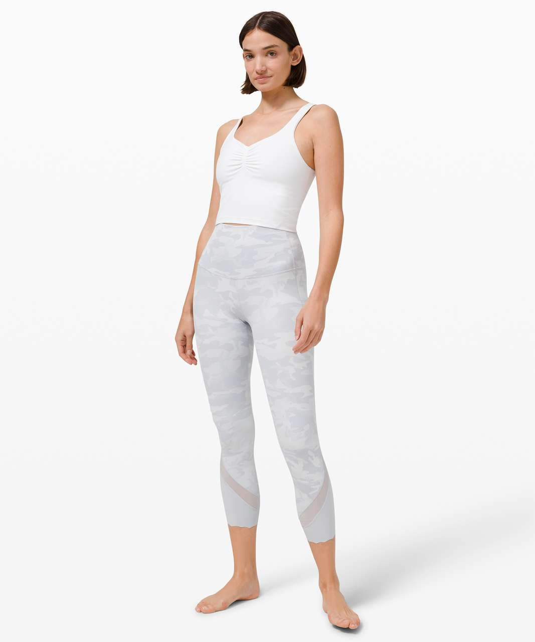 """Lululemon Wunder Under High-Rise Crop 23"""" *Updated Scallop Full-On Luxtreme - Incognito Camo Jacquard Alpine White Starlight"""