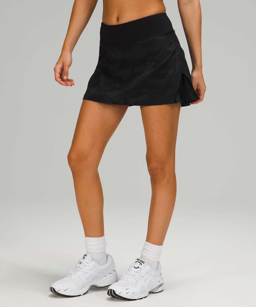Lululemon Play Off The Pleats Mid Rise Skirt - Heritage 365 Camo Deep Coal Multi / Black