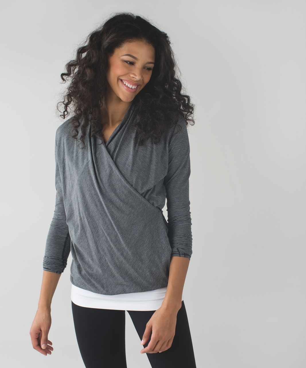 Lululemon Radiant Long Sleeve - Tonka Stripe Black Heathered Medium Grey