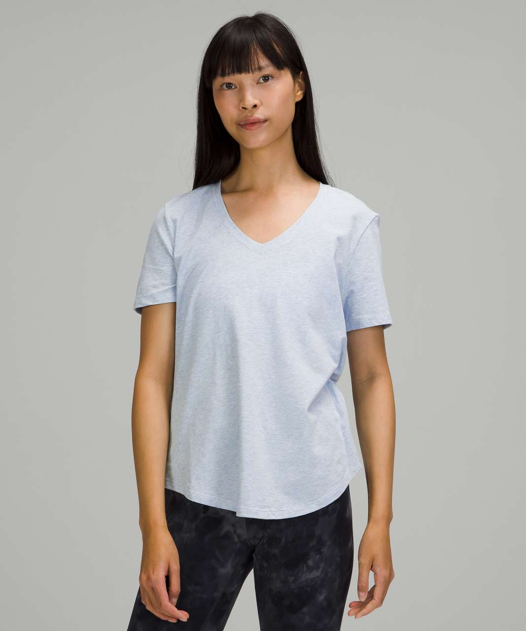 Lululemon Love Tee Short Sleeve V-Neck T-Shirt - Heathered Blue Linen