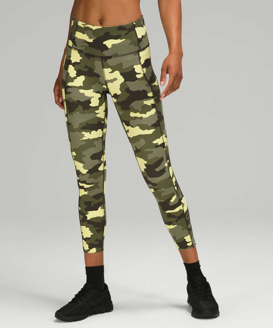 """Lululemon Fast and Free High Rise Crop 23"""" - Heritage 365 Camo Crispin Green Multi"""