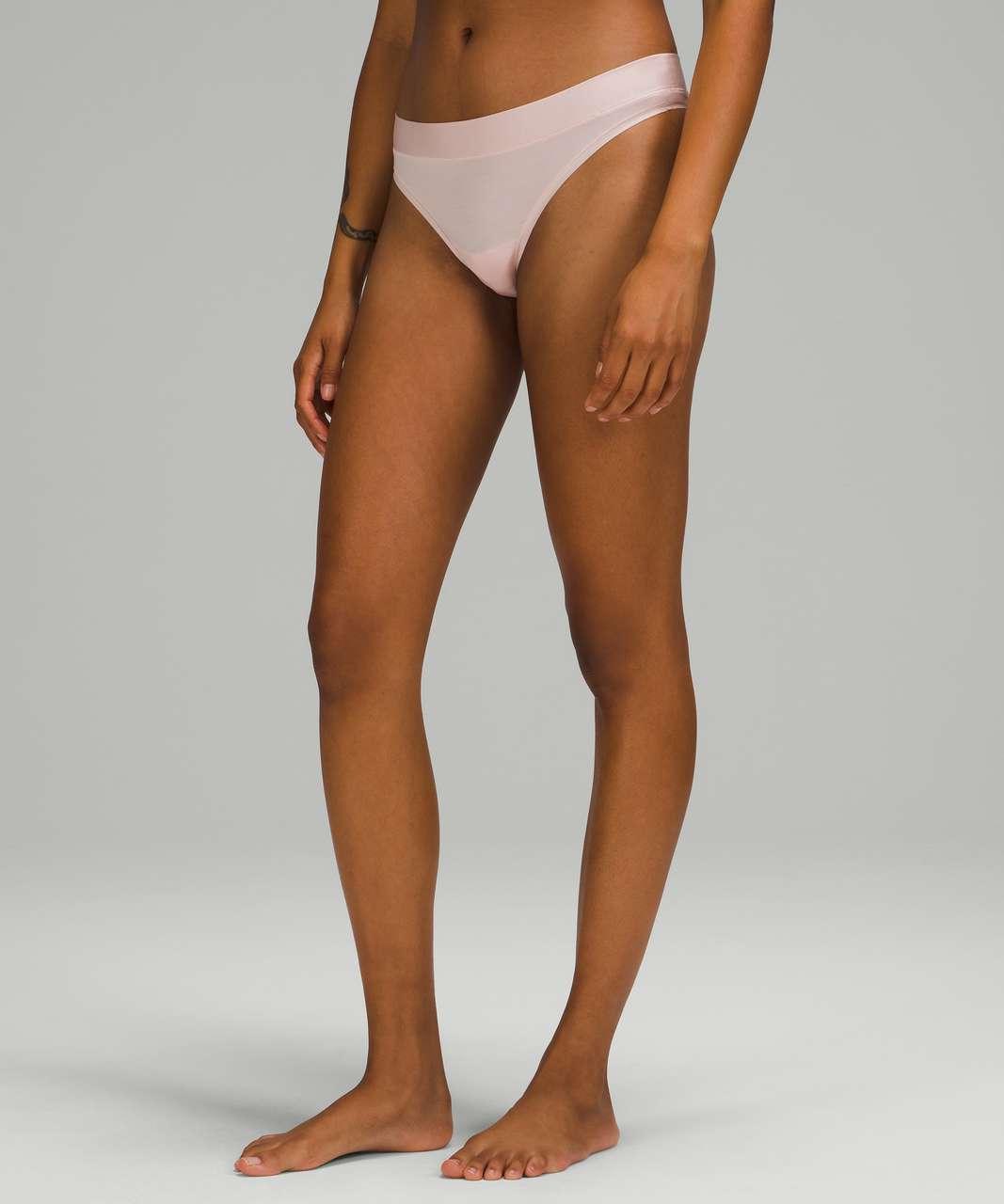 Lululemon UnderEase Mid Rise Thong Underwear 3 Pack - Black / Pink Mist / Double Dimension Starlight Black