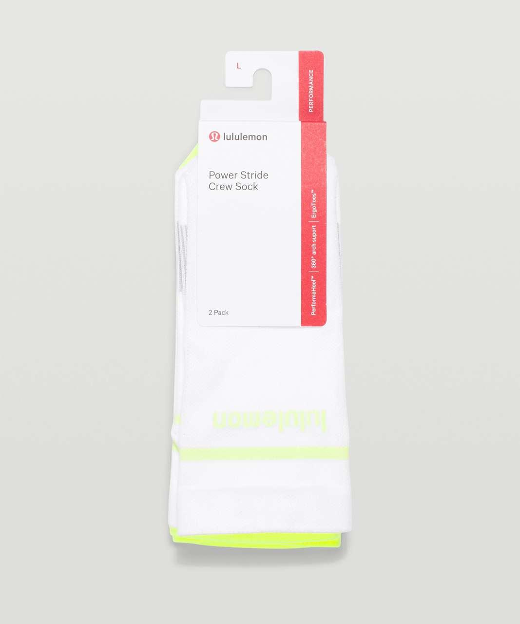 Lululemon Power Stride Crew Sock Stripe *2 Pack - Neo Mint / Highlight Yellow