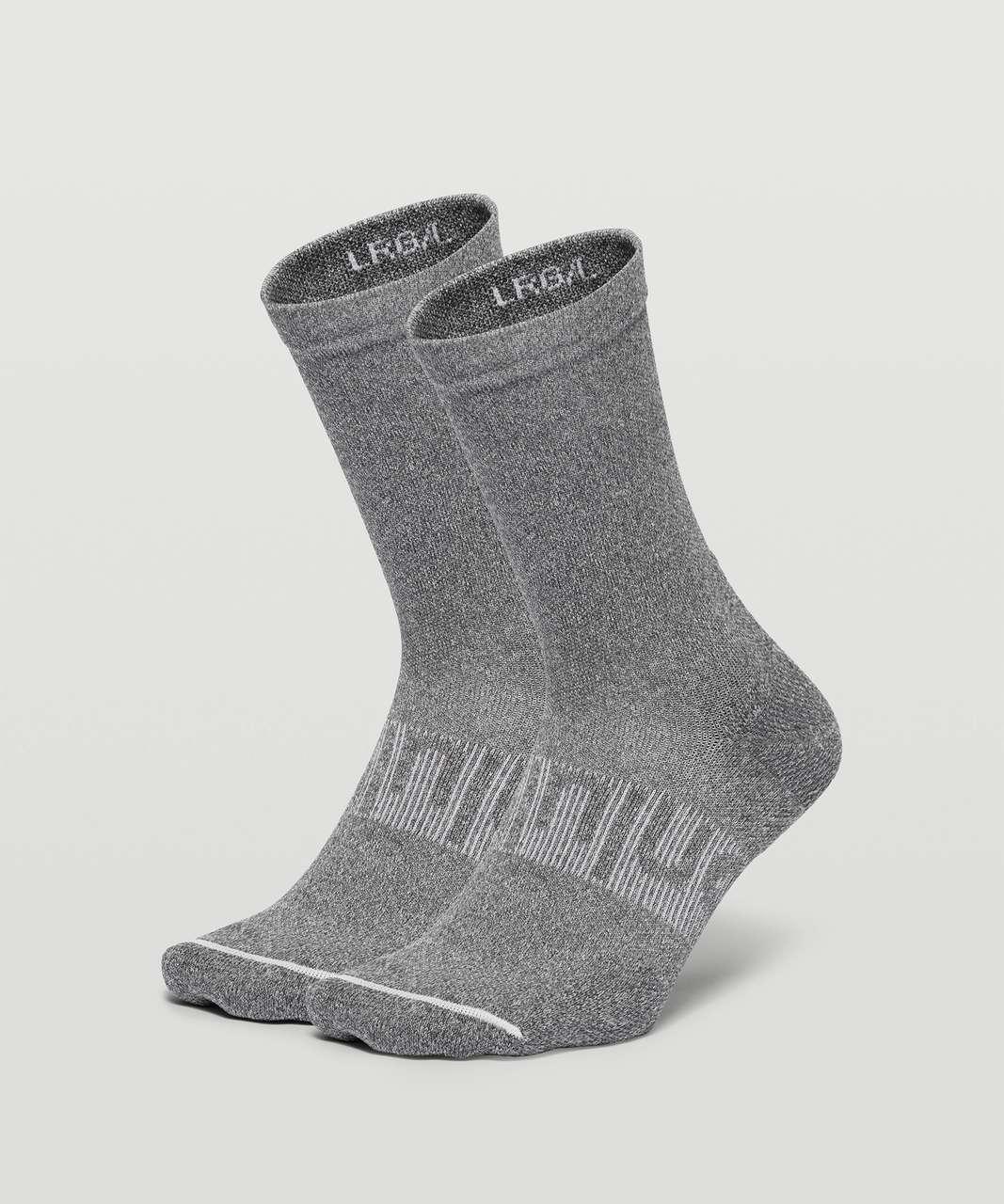 Lululemon Power Stride Crew Sock *2 Pack - Heathered Graphite Grey