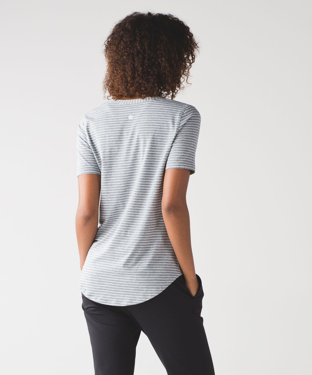 Lululemon Love Tee III - Modern Stripe Heathered Medium Grey White