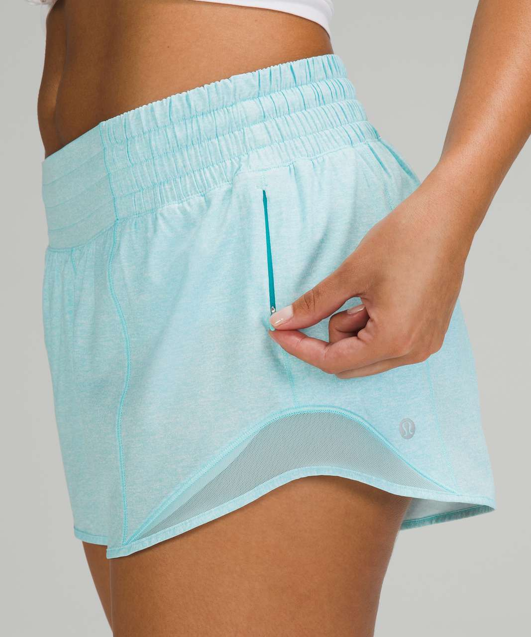 "Lululemon Hotty Hot High-Rise Short 2.5"" - Heather Lux Multi Icing Blue / Icing Blue"