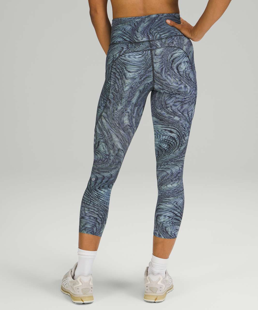 """Lululemon Fast and Free High Rise Crop 23"""" - Dimensional Icing Blue Multi"""