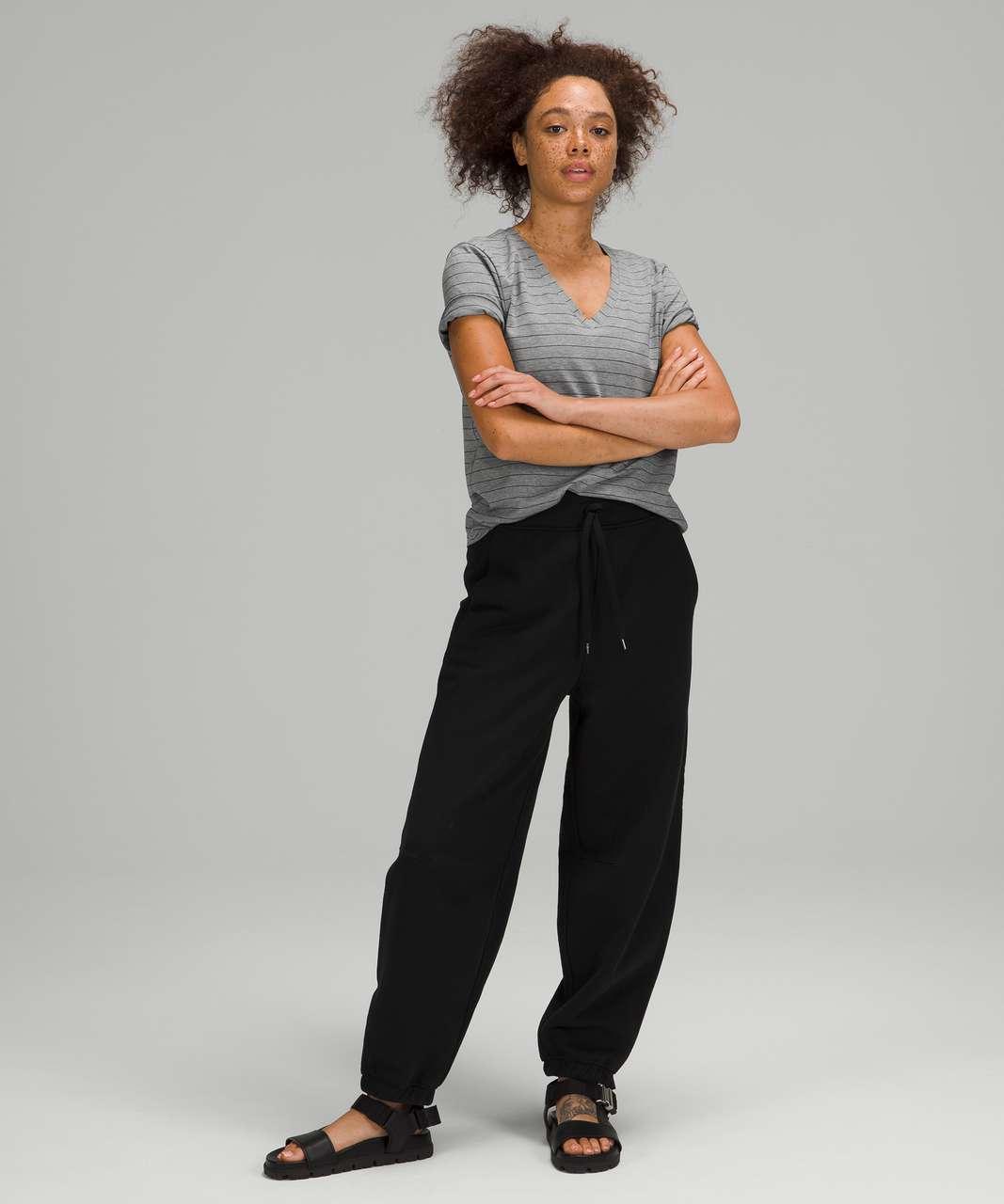Lululemon Love Tee Short Sleeve V-Neck T-Shirt - Short Serve Stripe Heathered Medium Grey Black