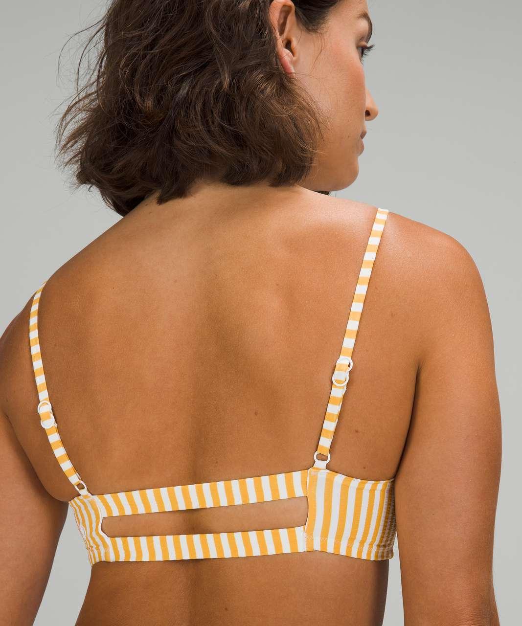 Lululemon Seersucker Swim Top *B/C Cups - Energize Stripe White Wheat Yellow