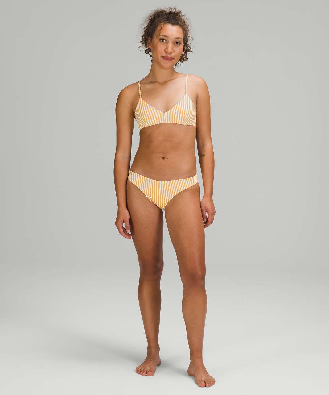 Lululemon Seersucker Triangle Swim Top *A/B Cups - Energize Stripe White Wheat Yellow
