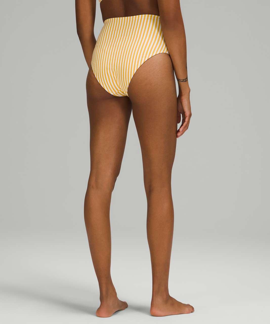 Lululemon Waterside Seersucker High Waist Skimpy Swim Bottom - Energize Stripe White Wheat Yellow
