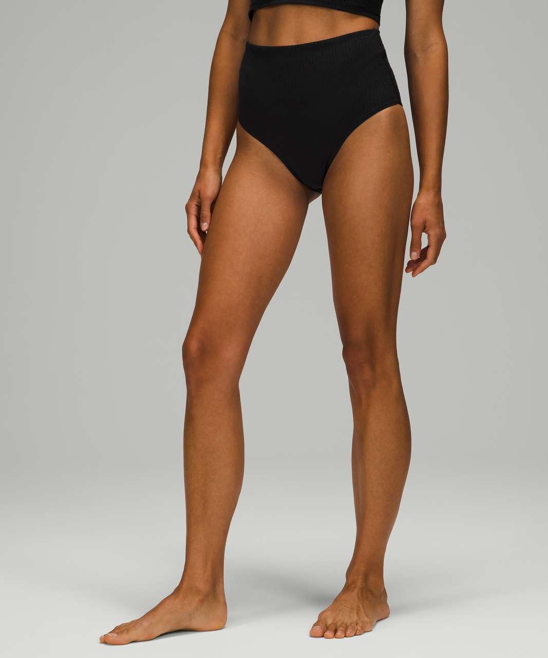 Lululemon Waterside Seersucker High Waist Skimpy Swim Bottom - Black