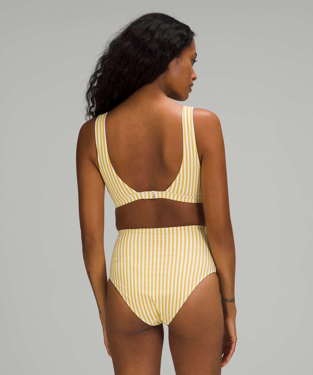 Lululemon Waterside V Seersucker Swim Top *C/D Cups - Energize Stripe White Wheat Yellow