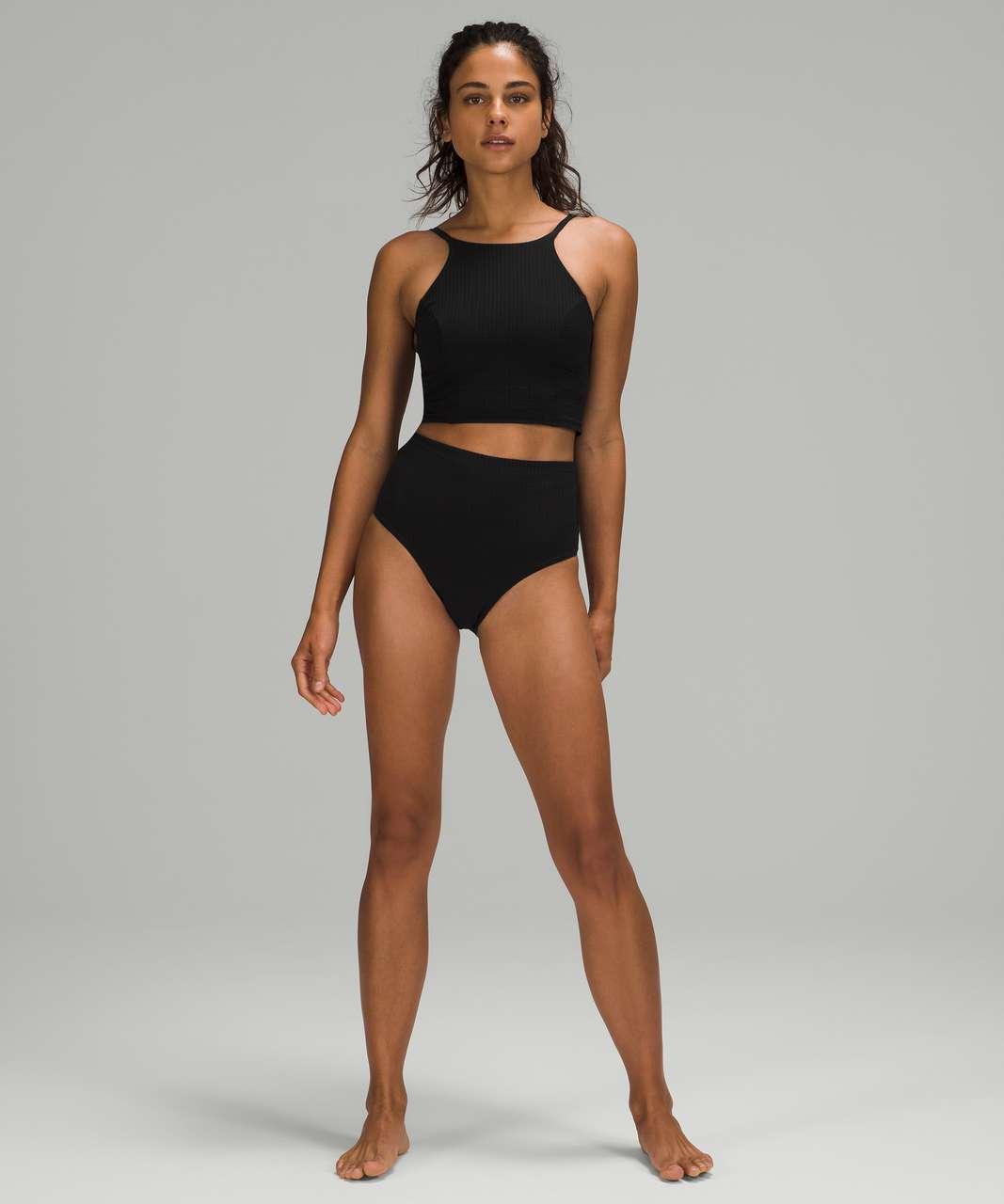 Lululemon Seersucker High-Neck Long-Line Swim Top *C/D Cups - Black