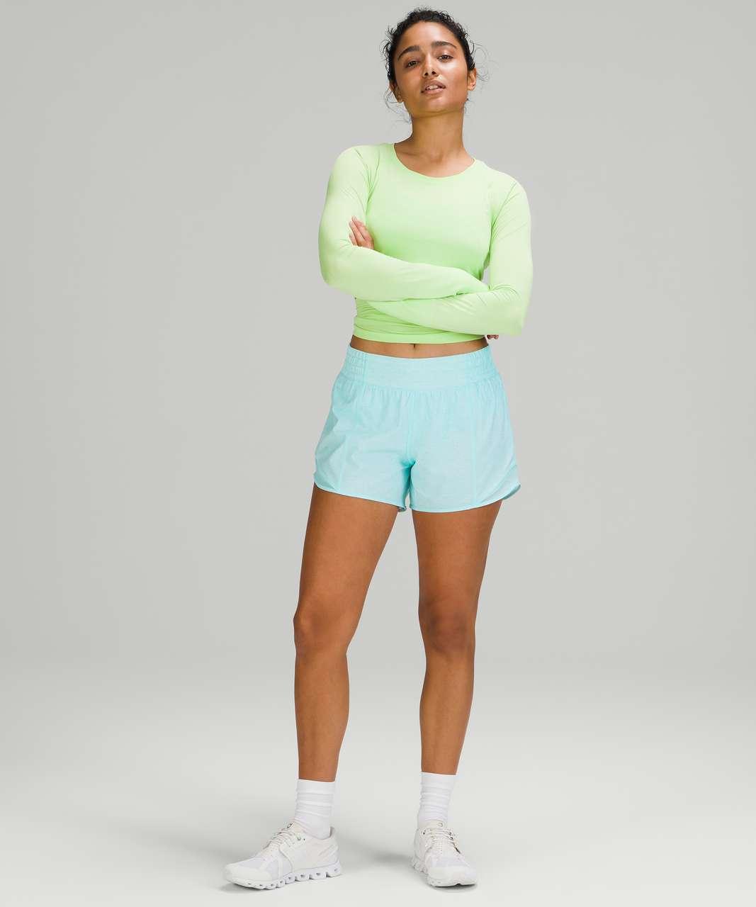 "Lululemon Hotty Hot High-Rise Short 4"" - Heather Lux Multi Icing Blue / Icing Blue"