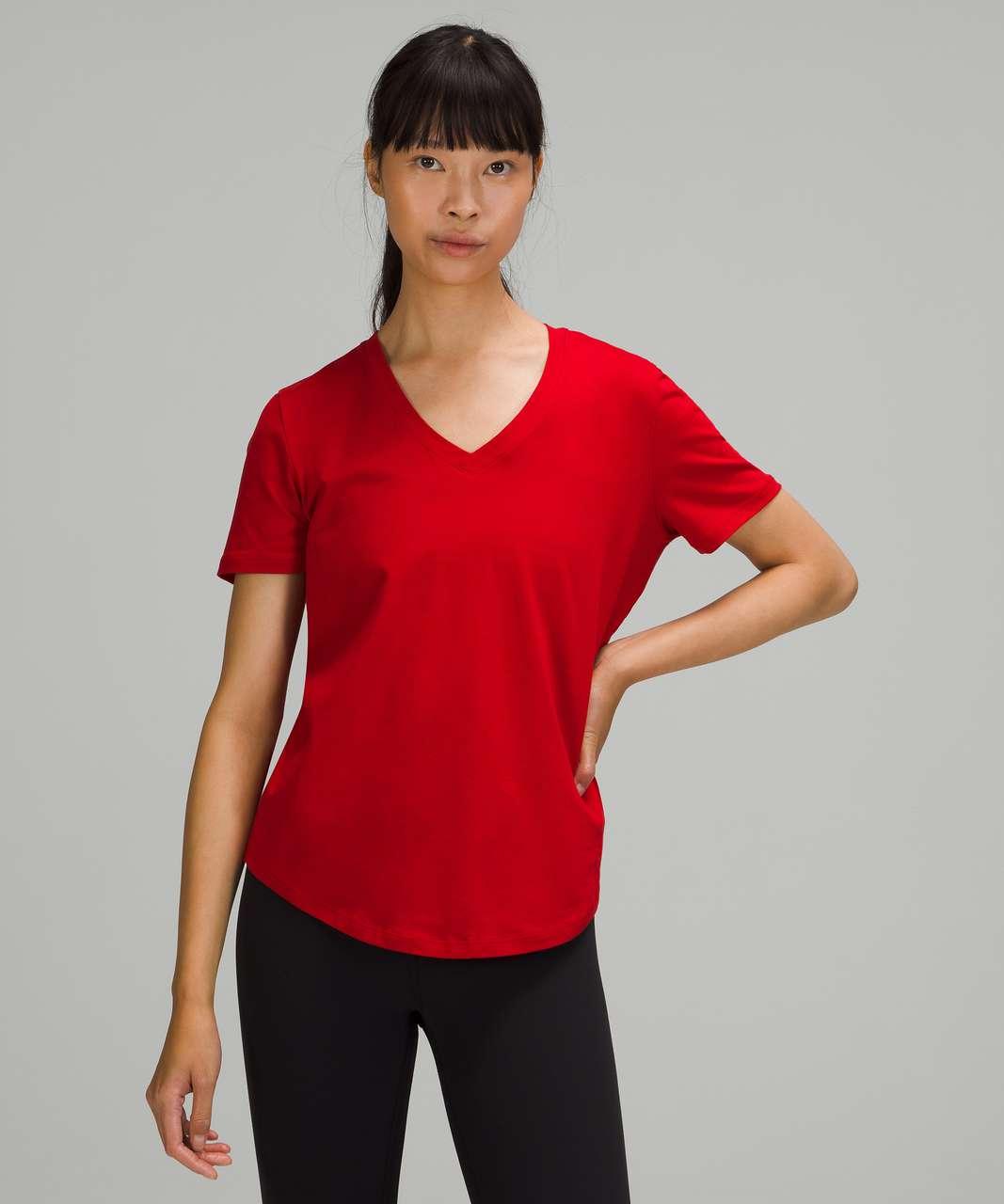 Lululemon Love Tee Short Sleeve V-Neck T-Shirt - Dark Red