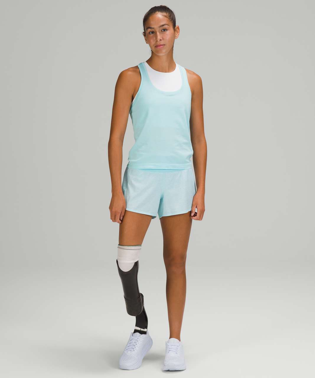 "Lululemon Speed Up Mid-Rise Short 4"" - Heather Lux Multi Icing Blue / Icing Blue"