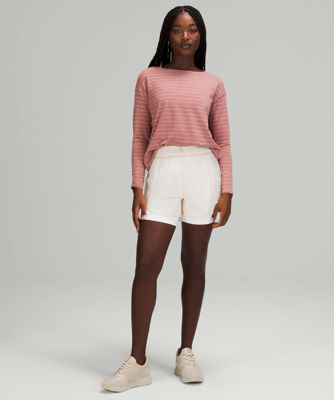 Lululemon Back In Action Long Sleeve - Short Serve Stripe Heathered Spiced Chai White