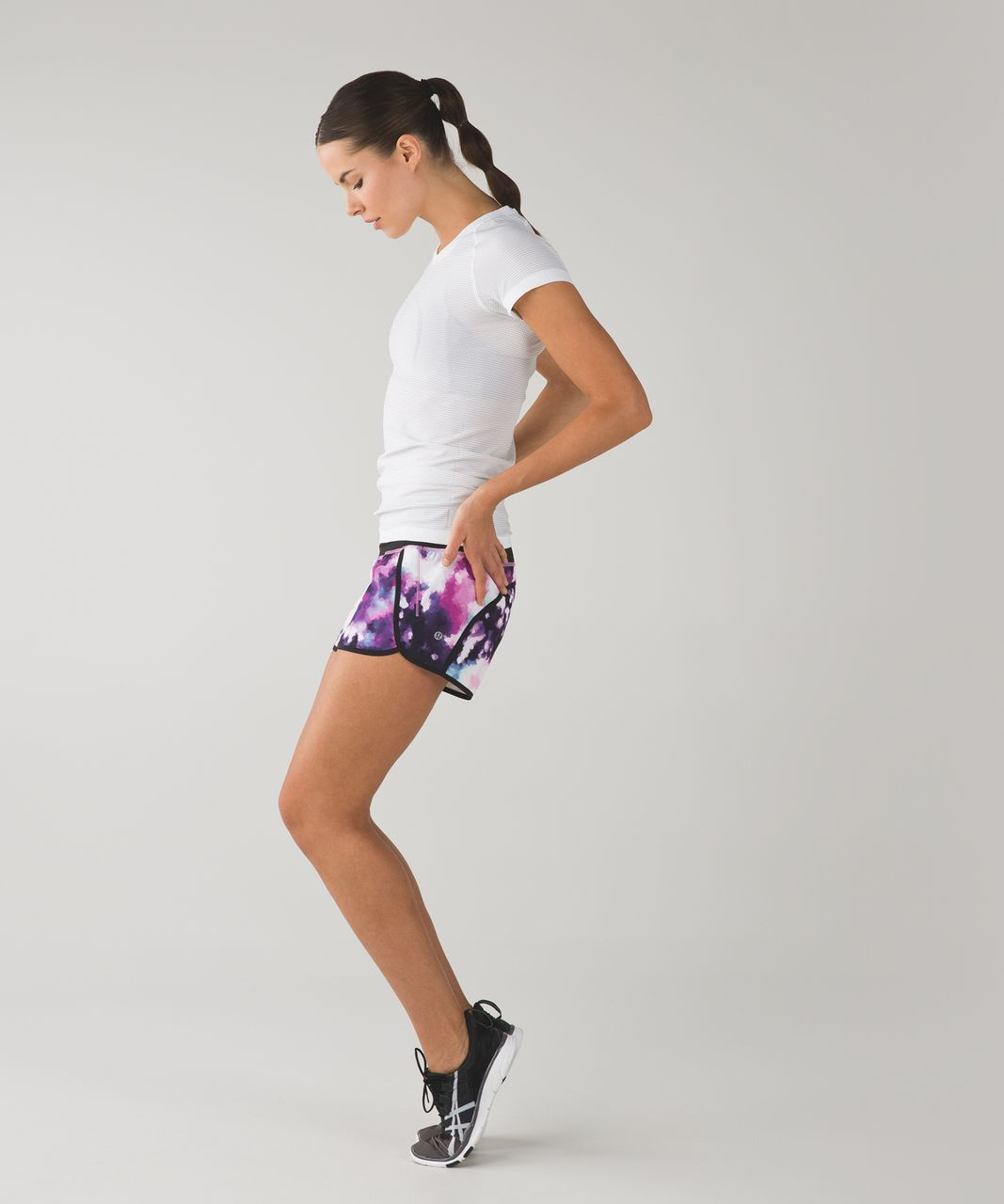 "Lululemon Run Times Short *4-way Stretch 4"" - Blooming Pixie Multi / Black"