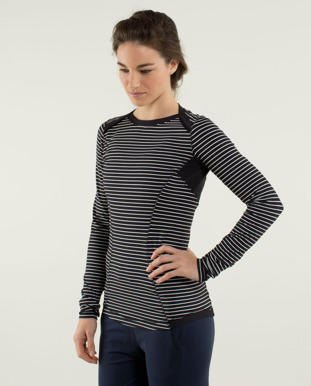 Lululemon Base Runner Long Sleeve - Parallel Stripe Black White / Black