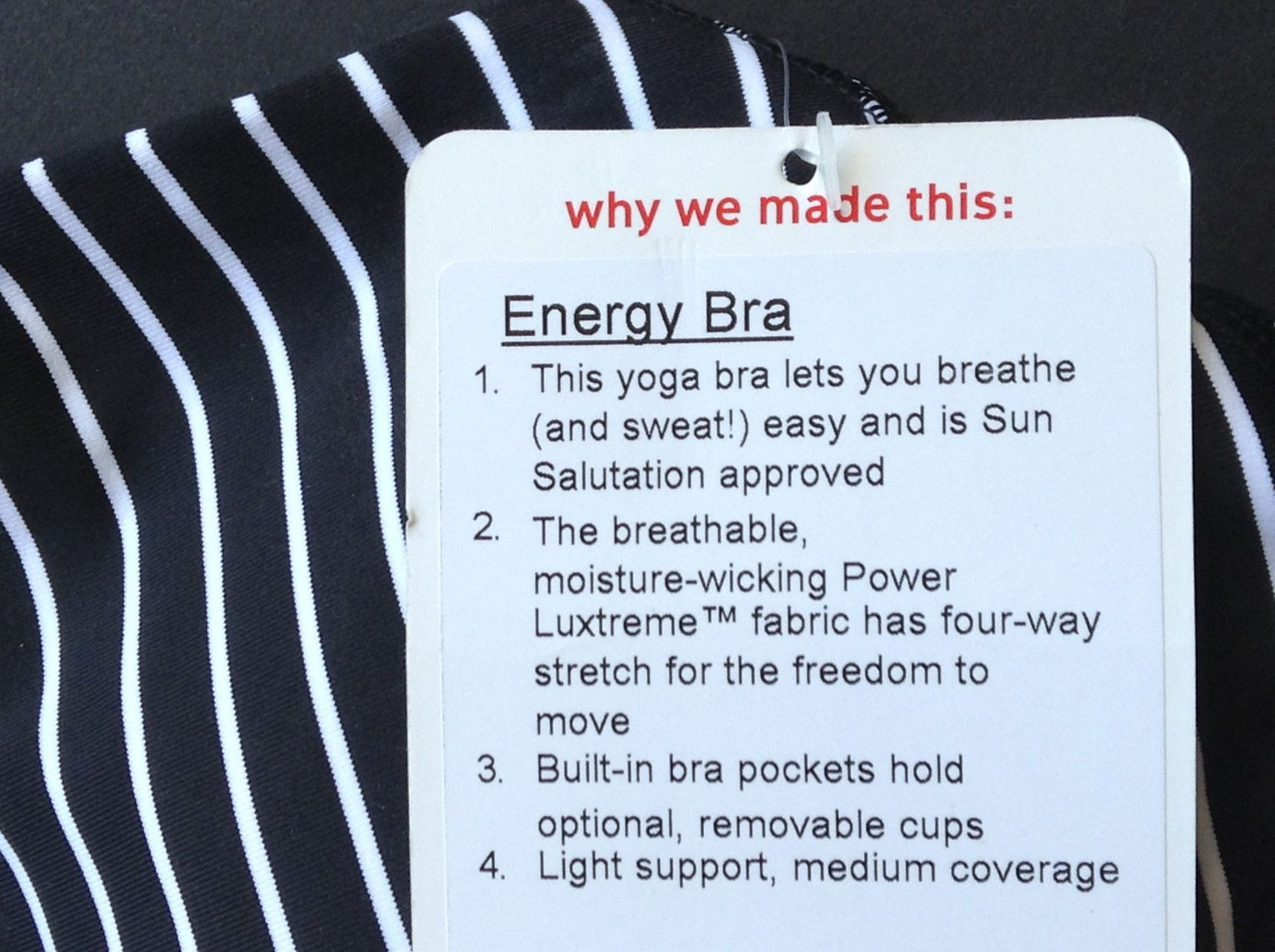 Lululemon Energy Bra - Parallel Stripe Black White / Black